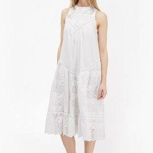 French Connection Eyelet Lace Midi Dress White 10